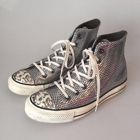d691e614489a Converse Shoes - CONVERSE HI-TOP SILVER SNAKESKIN SNEAKER W8 M6